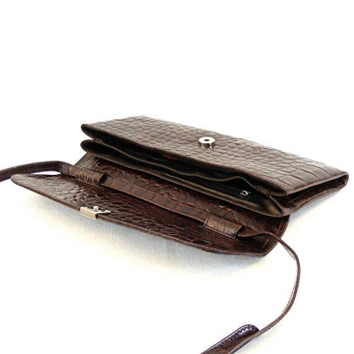 braun Abendtasche Magnetverschluss Leder Pavini 12511 Damen Tasche Croco 7qyBaOz