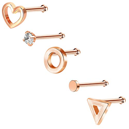 - COCHARM 20G Nose Ring Heart Nose Stud 14K Rose Gold Nose Ring Set Nose Piercing Jewelry