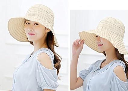 edad7ec26e227 Zoye Chen Women s Summer Reversible Empty Top Beach Sun Brim Hat sunshade  Foldable Wide Brim Beach Cap UPF 50+ (Cream) at Amazon Women s Clothing  store