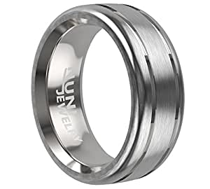 Tungsten 8mm Men's Ring Brushed Matte Center Double Grooved Strips Wedding band Comfort Fit ZION VL34 Nuni Jewelry (7)