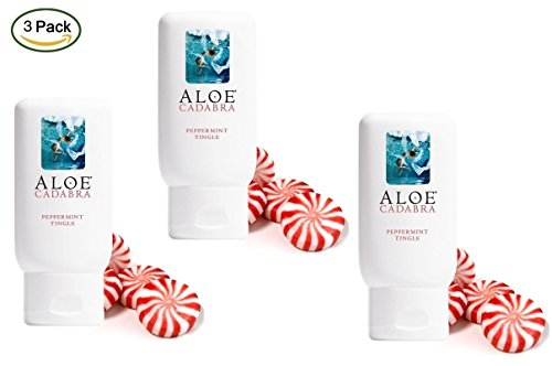Aloe Cadabra Organic Personal Lubricant and Natural Vaginal Moisturizer with 95% Aloe Vera, Natural Aloe Flavored Peppermint, 2.5 Ounce (Pack of 3)