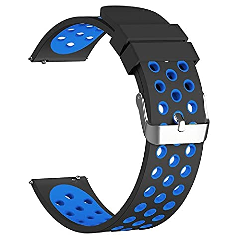 18mm Quick Release Watch Band, vitech Soft Silicone Sport Quick Release Watch Strap Wristband for Huawei Watch/ LG Watch Style And All 18mm Smart Watch (Lg Sport Watch)