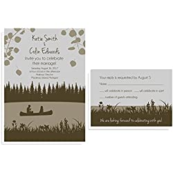 Lakeside Canoe Wedding Invitation Sets