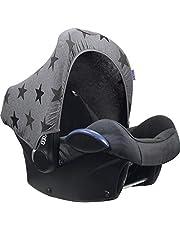Original Dooky Hoody solskydd solskydd för barnstolar eller barnvagn (design: Grå stjärnor, inkl. UV-skydd 40+, åldersgrupp 0+, universell lämplig för de flesta märken)