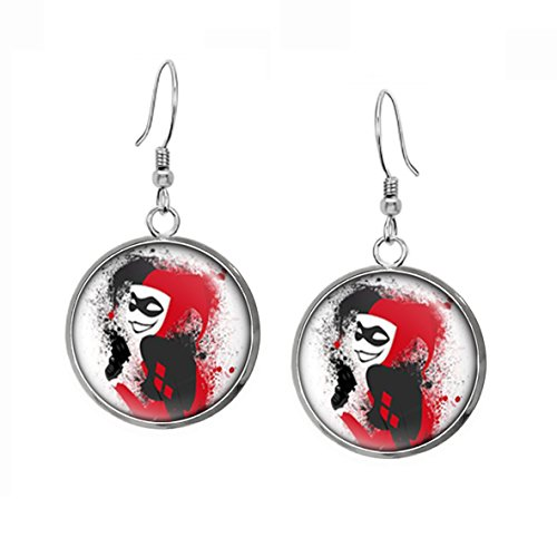 Joker Pendant (Harley Quinn Earrings, Suicide Squad DC Comics Jewelry, Justice League Pendant, Joker Necklace, Wedding Party, Geek Gift Geeky Gifts Nerd Nerdy Presents)