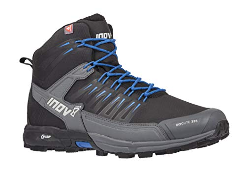 Inov-8 Roclite 335 - Insulated Hiking Boots for Snow, Winter - Lightweight - Vegan - Mid Boot Fit - Black/Blue M5/ W6.5