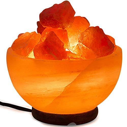 - Himalayan Salt Lamp Bowl with Natural Crystal Chunks, Dimmer Cord and Classic Wood Base Premium Quality Authentic from Pakistan