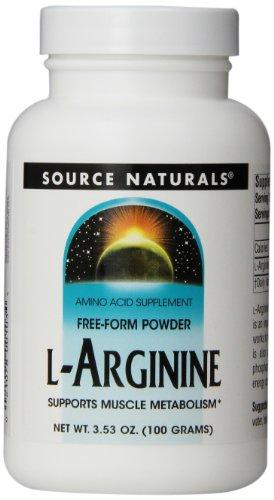 Source Naturals L-Arginine Free-Form Powder, Promotes Increased Circulation, 100 Grams, Pack of 2