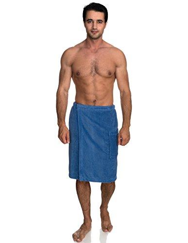 TowelSelections Men's Wrap, Shower & Bath, Terry Velour Towel Medium/Large Dutch Blue