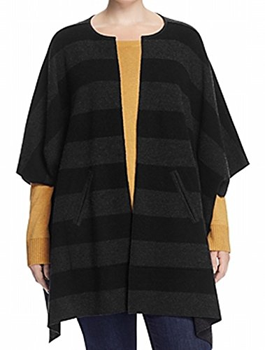 Eileen Fisher Striped One Cape Wool Cardigan Jacket Black One (Eileen Fisher Wool Cardigan)
