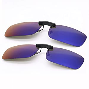 Rugjut 2 pairs Polarized Clip On Sunglasses Over Prescription Eyeglasses for Men/Women with case