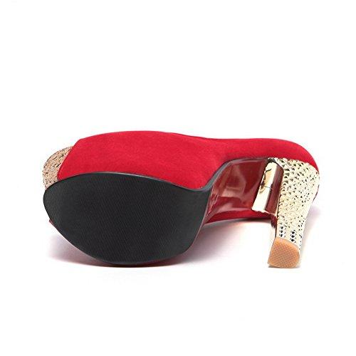 Balamasa Per Donna Placca Tacco Paillettes Tomaia Bassa Smerigliato Pumps-shoes Rosso
