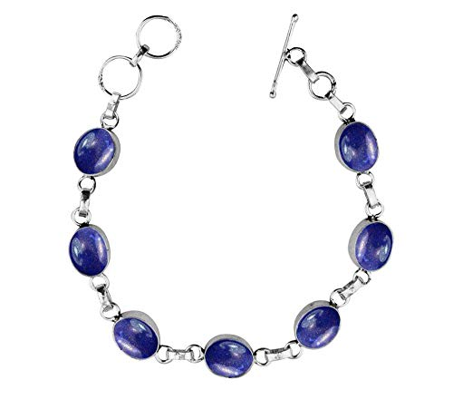Genuine Oval Shape Lapis Link Bracelet 925 Silver Overlay Handmade Vintage Bohemian Style Jewelry for Women Girls
