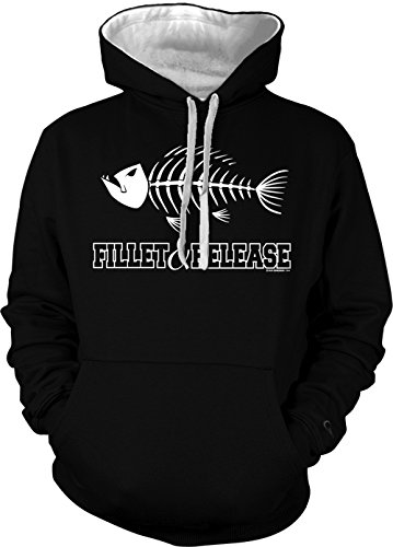 Fillet & Release - Fishing, Fisherman Men's 2 Tone Hoodie Sweatshirt (XL, BLACK / WHITE STRING)