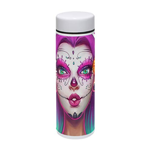 MAPOLO Sugar Skull Girl Painting Stainless Steel Sports Water Bottle Vacuum Thermos Flask for Outdoors,Camping,Cycling,Fitness,Gym,Yoga - 220ml ()