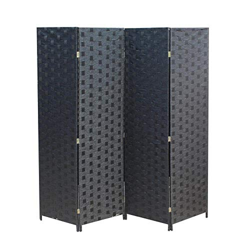 MR Direct Room Divider 4 Panel Wood mesh Woven Design Room Screen Divider Wooden Screen Folding Portable partition Screen Screen Wood for Home Office Bedroom Black Design Room Divider 4 Panel