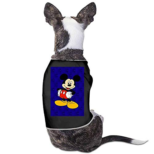 StyleDirect Spring and Summer Pet Dog Clothing Shirt,Black Blue Mickey Minnie Mouse Red Tan White Yellow Print Dog Costumes Pet Dog Clothes Shirt(Black)-M]()