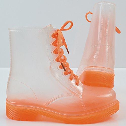 QZUnique Womens Transparent Waterproof Rain Boots Lace-up Round Toe Martin Rain Shoes Orange mdOQCp7
