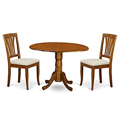 East West Furniture DLAV3-SBR-C 3-Piece Kitchen Nook Dining Table Set, Saddle Brown Finish - 3 piece kitchen Round Table with 2 Drop Leaves and 2 Avon chairs with cushion Seat in a Saddle Brown finish Round dining table provides two 9-Inch Drop Leaves. Ideal for small compact areas. Held up by an unique pedestal, this particular round kitchen table additionally presents favorable two drop leaves - kitchen-dining-room-furniture, kitchen-dining-room, dining-sets - 41pjag5hEkL. SS400  -