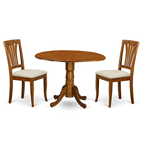 East West Furniture DLAV3-SBR-C 3-Piece Kitchen Nook Dining Table Set, Saddle Brown Finish