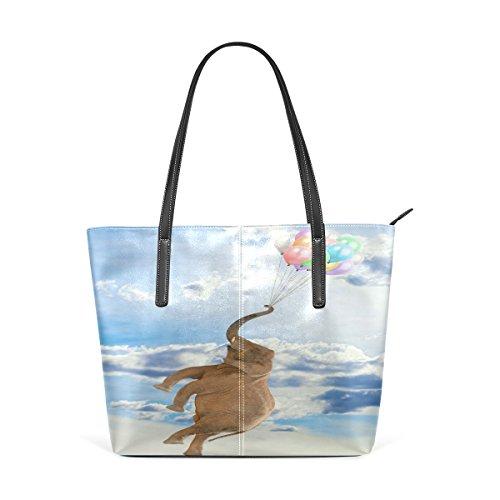 COOSUN Elefante volar con los globos de la PU de cuero bolso monedero y bolsos de la bolsa de asas para las mujeres Medio muticolour