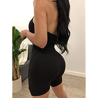 MA&BABY Womens Strapless Tube Jumpsuit Solid Color Sleeveless Bodycon Short Romper Catsuit: Clothing