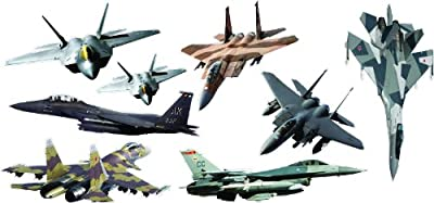 Fighter Jets Giant (8 pcs) stickers - removable and repositionable Wall Decals Wall Art For Any Kids room.