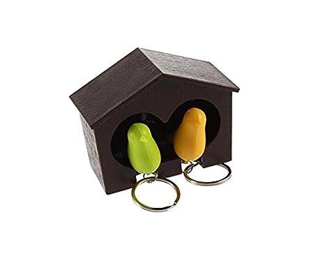 Cadena de madera para llaves, diseño de casa con pájaro ...
