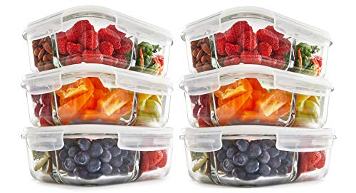 [6-Pack 35 oz] Glass Meal Prep Containers 3 Compartment | Premium Vented Snap Locking Lid | BPA Free | Oven, Microwave, Freezer, Dishwasher Safe | Keto Friendly | Food Storage ()