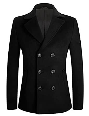 APTRO Men's Winter Wool Pea Coat Slim Fit Quality Wool