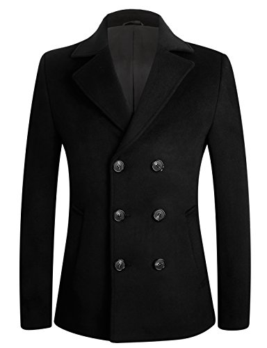Men's Stylish Slim Fit Wool Pea Coat Winter Jacket (XL, Black-Double ()