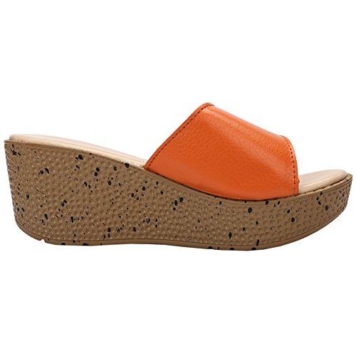 Fereshte Kvinna Läder Peep Toe Öppen Rygg Kilklack Sandaler Flatforms Strand Semester Tofflor Brun