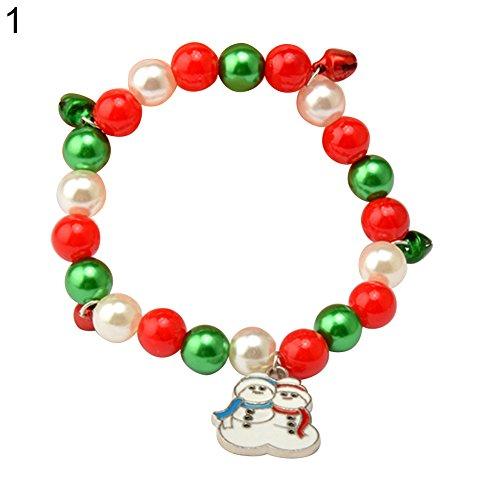 Wintefei Colorful Faux Pearl Bells Santa Claus Snowman Pendant Christmas Bracelet Bangle - Snowman