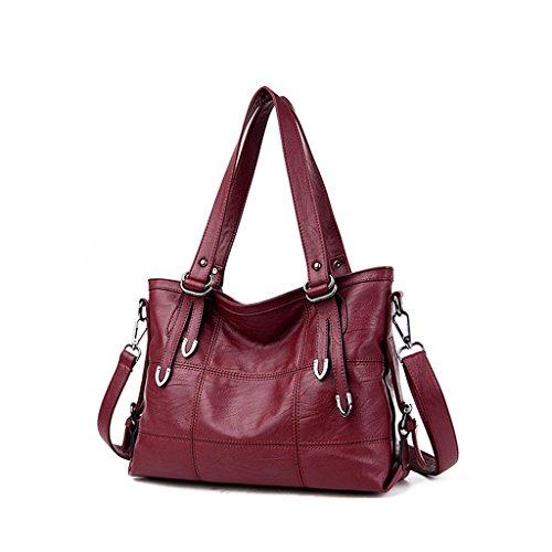 sac sac centrale européenne sac féminin d'unité bandoulière Rouge femmes sac coutures sauvages Vin élégante Sac des à Le carré américaine Messenger et qwxU0