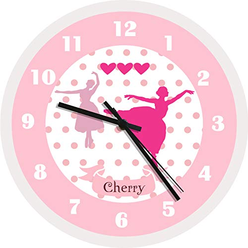 - WENDANA Pink Ballerina Polka Dots Personalized Wood Wall Clocks Decorative for Girls Bedrooms Decor,Birthday Gifts for Teen Girls