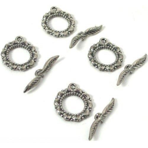 - 4 Bali Toggle Clasps Leaf Beading Jewelry Necklaces