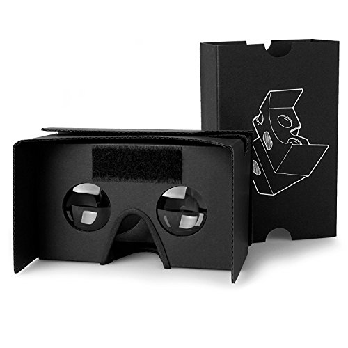 POTOK 2016 Google Cardboard Kit 3D VR Virtual Reality DIY Glasses with T Straps for 3D Movies and Games Compatible with Android and IOS-Black