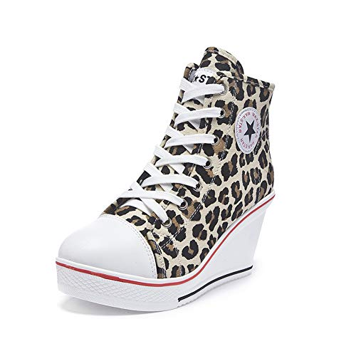 Sokaly Women's Sneaker High-Heeled Canvas Shoes High-Top Wedge Sneakers Platform Lace up Side Zipper Pump Fashion Sneakers (6-6.5 B(M) US, Leopard Print)