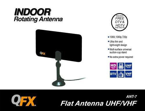 QFX ANT-7BLK/BK Indoor Ultra Flat Rotating Antenna