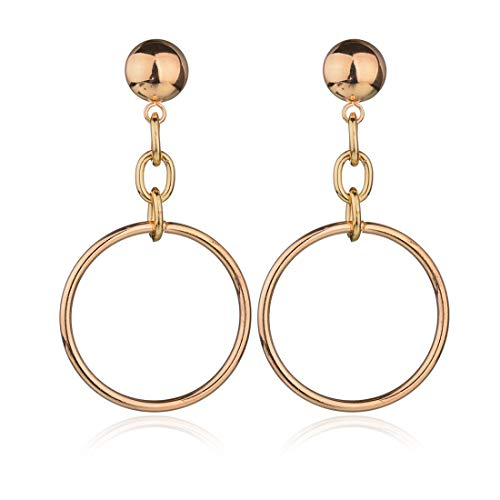 Geerier Gold Circle Dangle Earrings Punk Circle Links Dangle Coin Stud Geometric Earrings Women ()