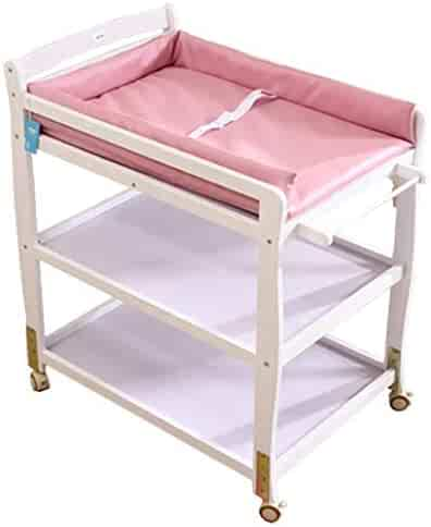 Safety Baby Changing Table, 2 in 1 Infant Bath Tub Unit, Storage Dresser with Lockable Wheels, Portable Dresser Newborn 0-2 Years Old Save Space (3 Color) Best Choice (Color : B)