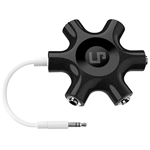 LP Multi Headphone Splitter, 3.5mm Audio Stereo Splitter Cable, 1 Male to 5 Port Female Earphone Headset Splitter Adapter Compatible with iPhone, Samsung, Smartphones, Tablets, MP3 Players(Black)