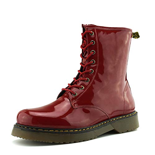 con donna Stivali rosso da Stivaletti alla retrò gotico funky cinturino da vintage caviglia color xgSAqwf5