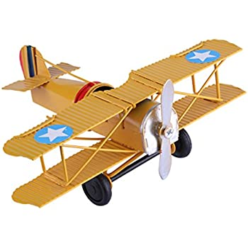 Berry President Vintage Retro Wrought Metal Iron Biplane Plane Aircraft Handicraft Models - Photo Props Home Decor/Ornament/Souvenir (Yellow)