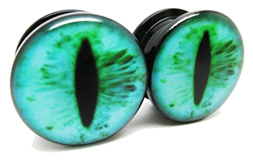 Pierced Republic Teal Eye Ear Plugs - Acrylic - Screw on - NEWPair - 8 Sizes (0 Gauge (8mm))