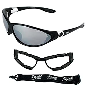 Moritz UV400 Black Ski Goggles and Sports Sunglasses With Interchangeable Side Arms and Strap. For Men and Women. Ideal Biker, Snowboard, Skiing & Glacier Glasses