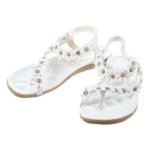 for flower open SODIAL feet Women Flip sweet toe US6 flop flip beaded flat sandals New bohemia shoes 23CM EUR36 Women flats 669 soft length outsole white ffTq7IFwWx