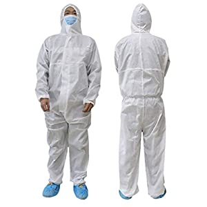 Disposable Coverall with Hood Protective Suit Factory Hospital Safety Clothing (White, 175/XL)