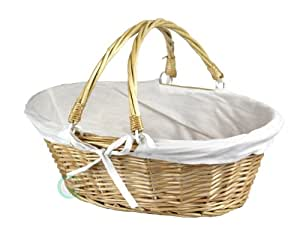 Vintiquewise(TM) QI003055.WF Oval Willow Basket with Double Drop Down Handles