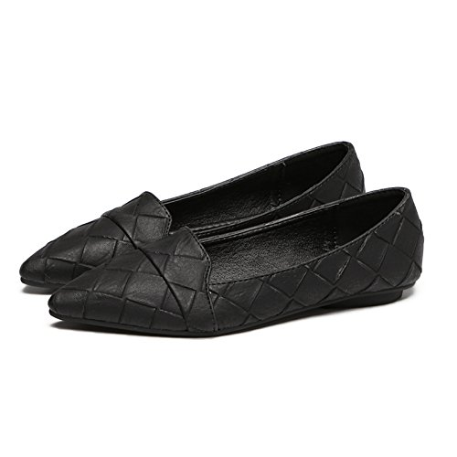 Xue Qiqi Sugerencia Calzado Plano luz-un Simple Plano con Solo Zapatos Zapatos de Mujer Calzado Casual Trabajo 4 Negro
